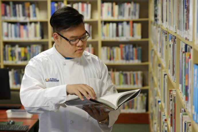 student in the library